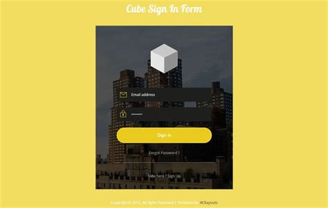 Cube Signin Form Flat Responsive Widget Template by w3layouts