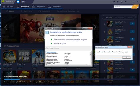 Can't start Bluestacks without the Server interface