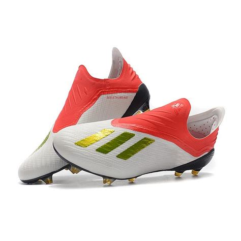 Chaussures de Football adidas X 18+ FG - Blanc Rouge Or