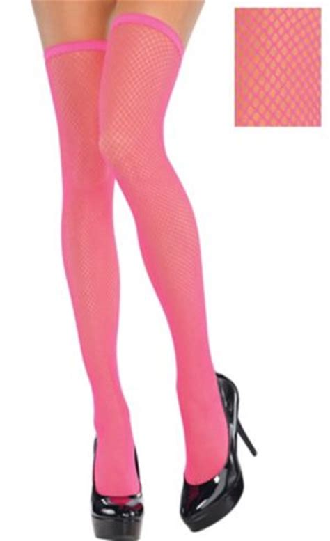 Neon Pink Thigh-High Fishnet Stockings - Party City