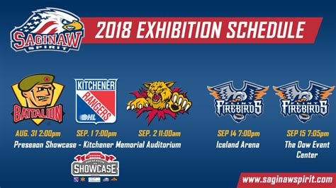 Saginaw Spirit to play in Preseason Showcase hosted by